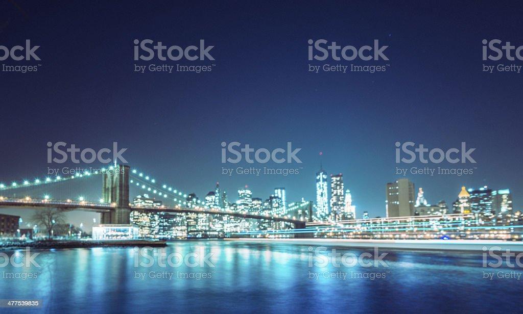 defocus NYC skyline and brooklyn bridge royalty-free stock photo