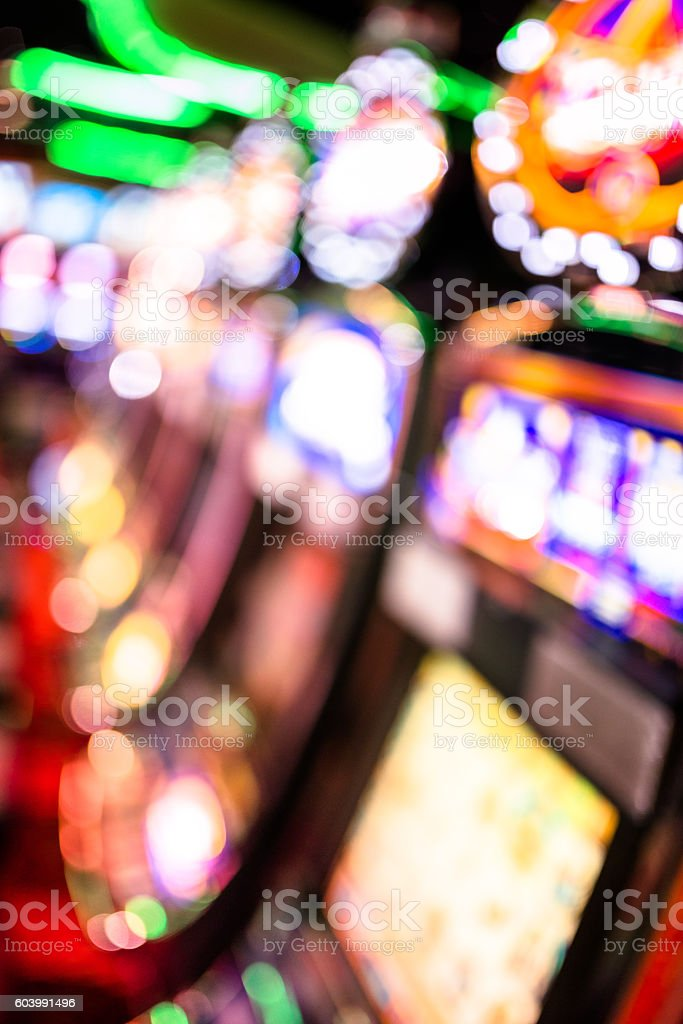 defocus Slot machine casino background stock photo