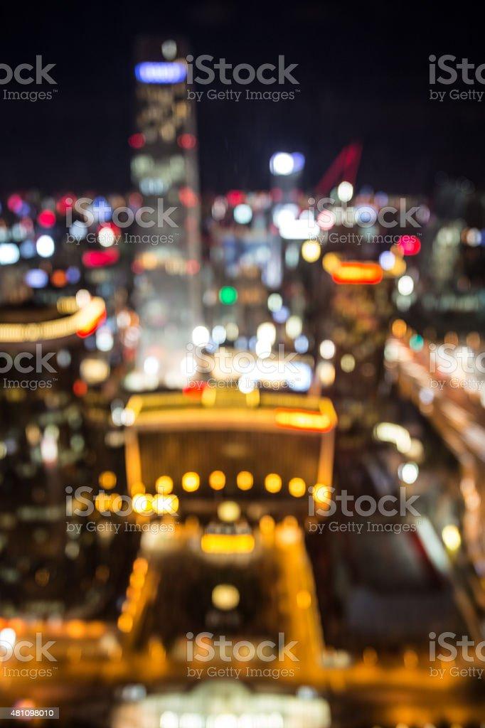 Defocusd Aerial view of city night stock photo
