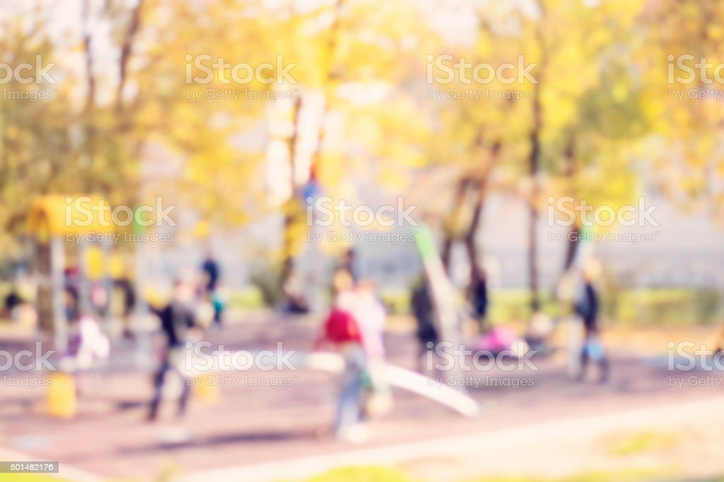 Defocused and blurred image for background of children's playground stock photo