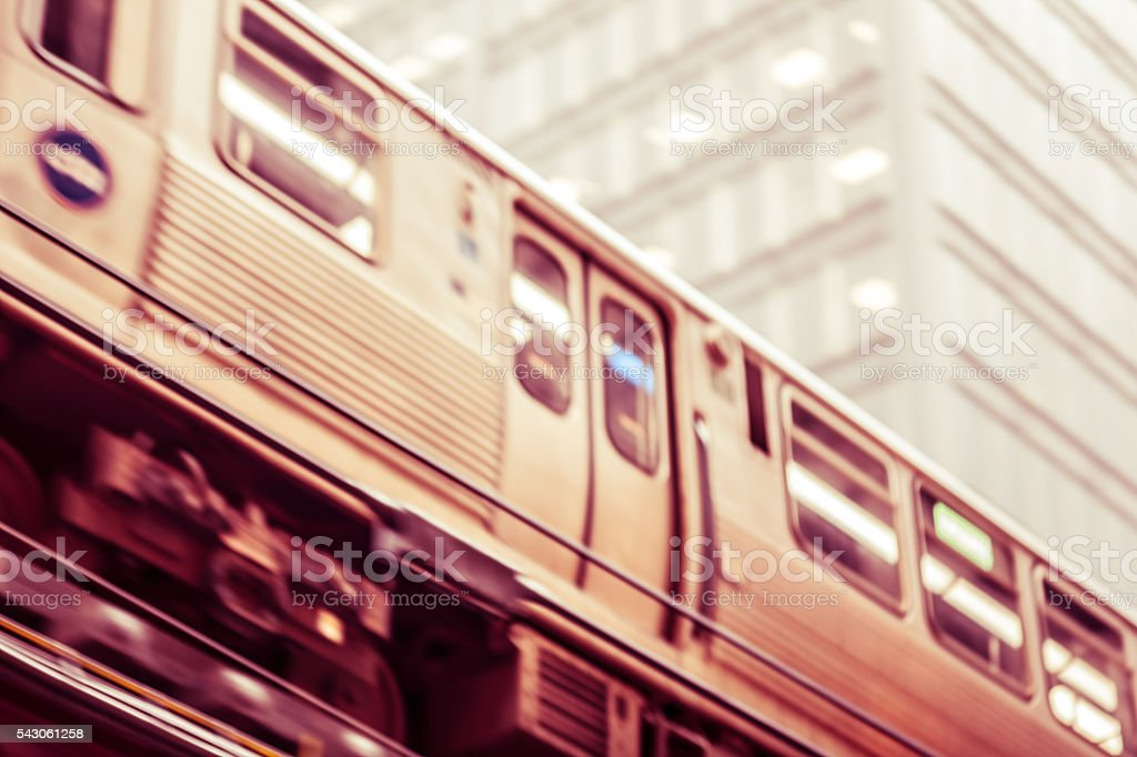 Defocused and toned scene with Chicago's elevated 'L' train stock photo