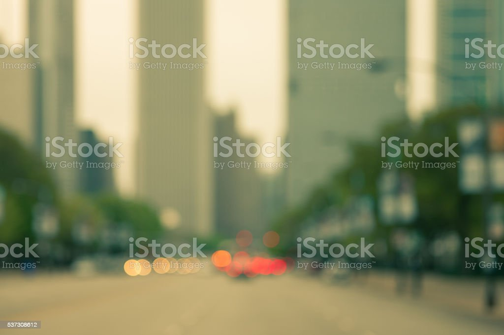 Defocused and toned street scene in large metropolitan area stock photo