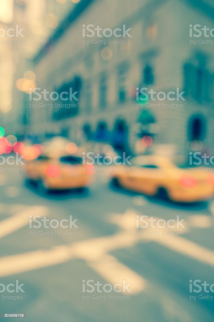 Defocused and toned street scene in New York City stock photo