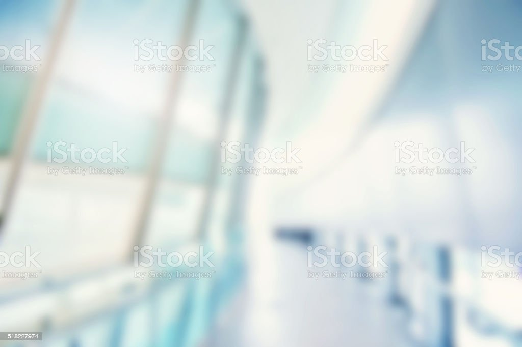 Defocused Atrium Office Background Blue Green stock photo