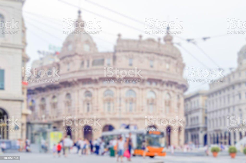 Defocused background of central Genoa, Italy stock photo