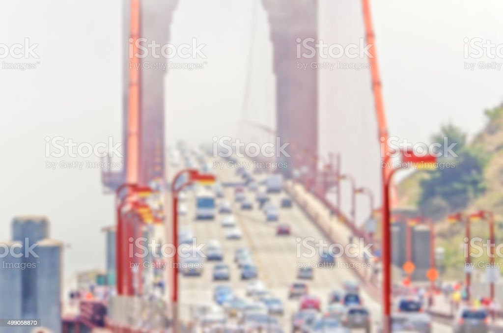 Defocused background of Golden Gate Bridge in San Francisco, USA stock photo