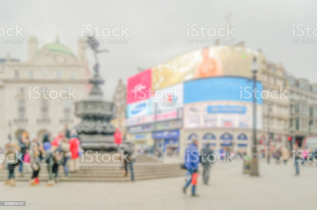 Defocused background of Piccadilly Circus in London stock photo