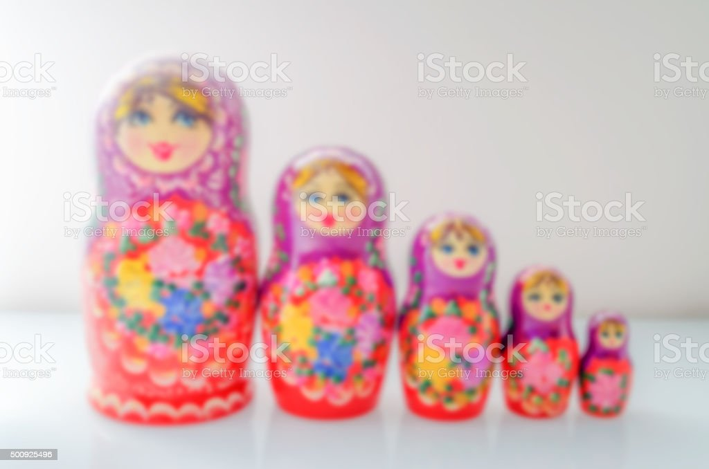 Defocused background of russian nesting doll (matryoshka) stock photo