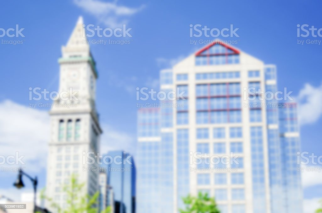 Defocused background of the Custom House Tower in Boston, USA stock photo
