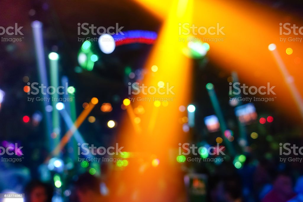 Defocused background with abstract bokeh lights in disco nightclub stock photo