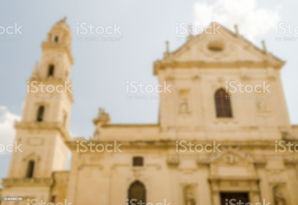 Defocused background with Cathedral of Lecce, Salento, Italy stock photo