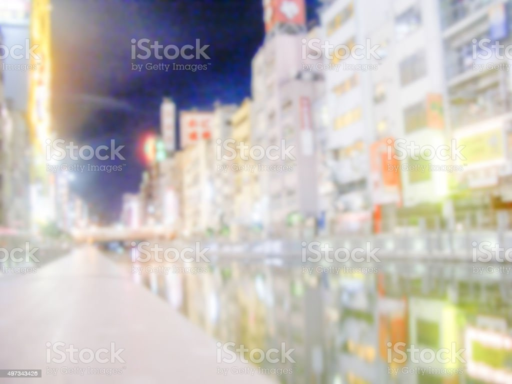 Defocused Background with Dotonbori Canal in Osaka. stock photo