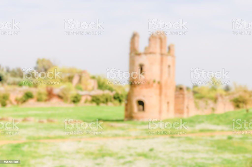Defocused background with ruins of the Circus of Maxentius, Rome stock photo
