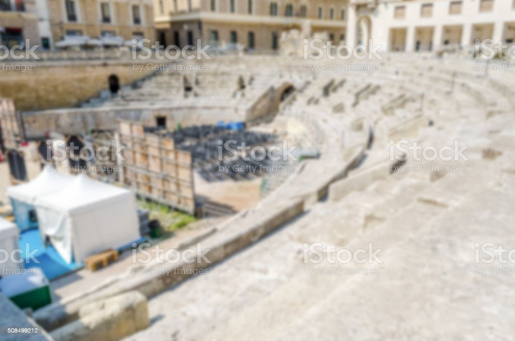Defocused background,Roman amphitheatre in Sant'Oronzo square stock photo