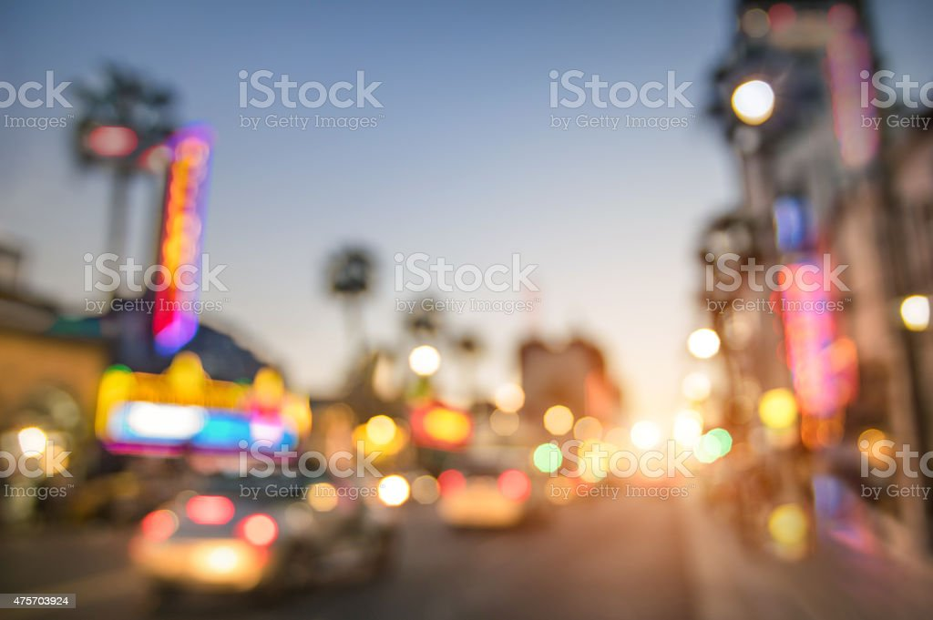Defocused blur of Hollywood Boulevard in Losa Angeles stock photo