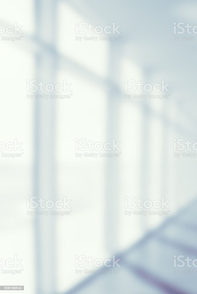 Defocused Office or Hospital Open Corridor Background stock photo