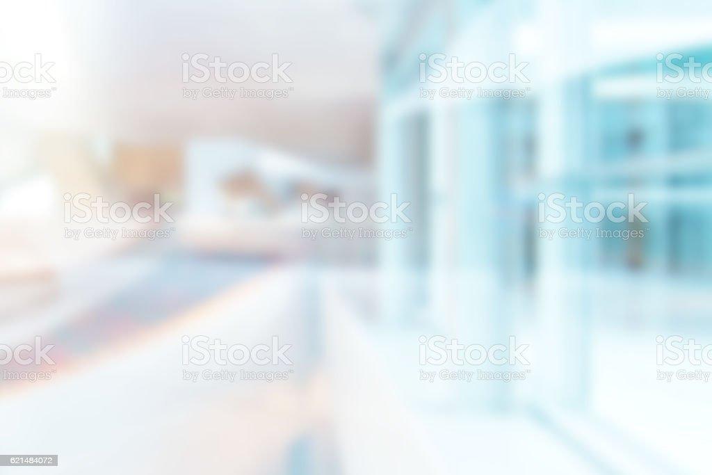 Defocused Blurred Soft Abstract Atrium or Corridor Background stock photo