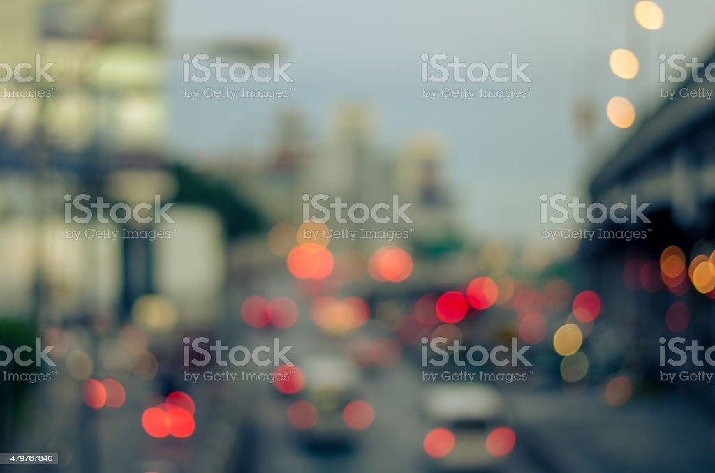 Defocused blurry light traffic background stock photo