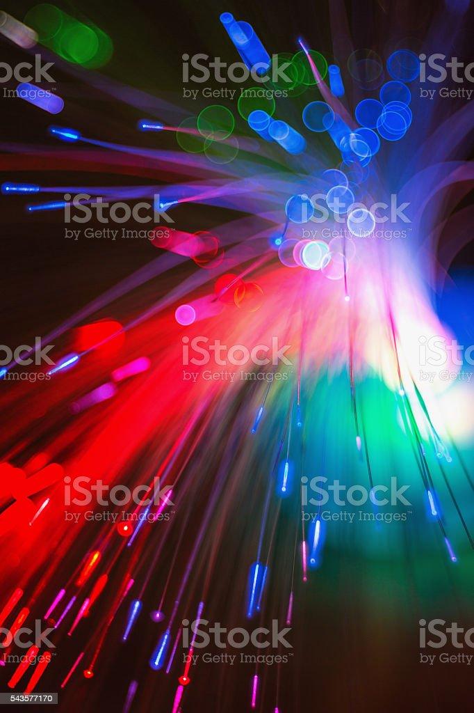 Defocused bokeh lights: optic fiber close-up stock photo