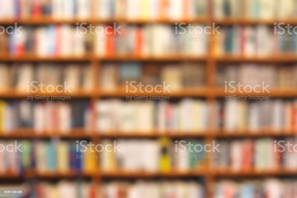 Defocused bookstore background, shelves with books stock photo