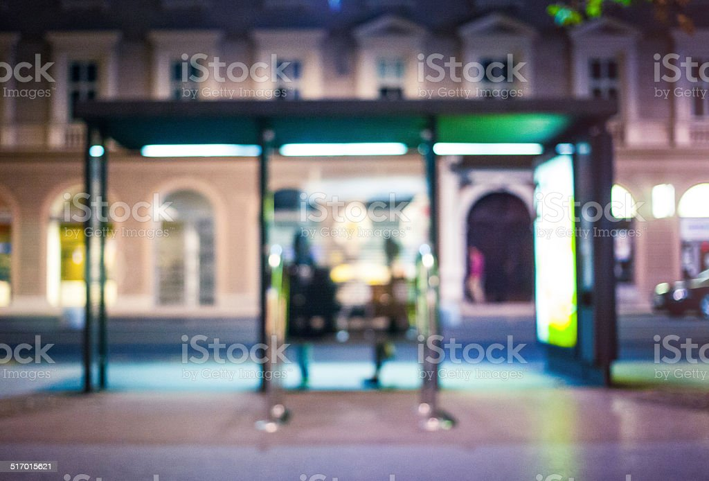 Defocused bus station in the city stock photo