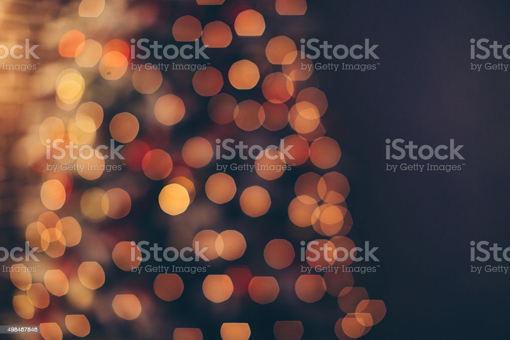Defocused Christmas tree lights. stock photo