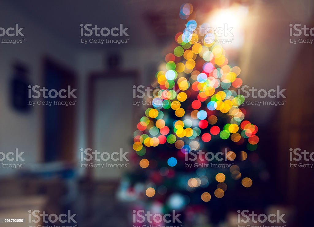 defocused Christmas tree stock photo