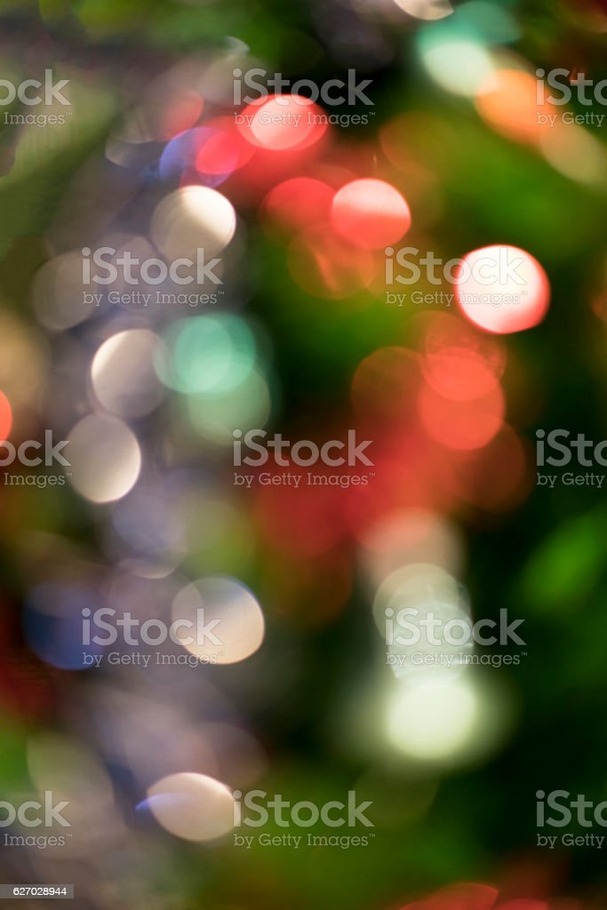Defocused colorful balls on Christmas tree stock photo