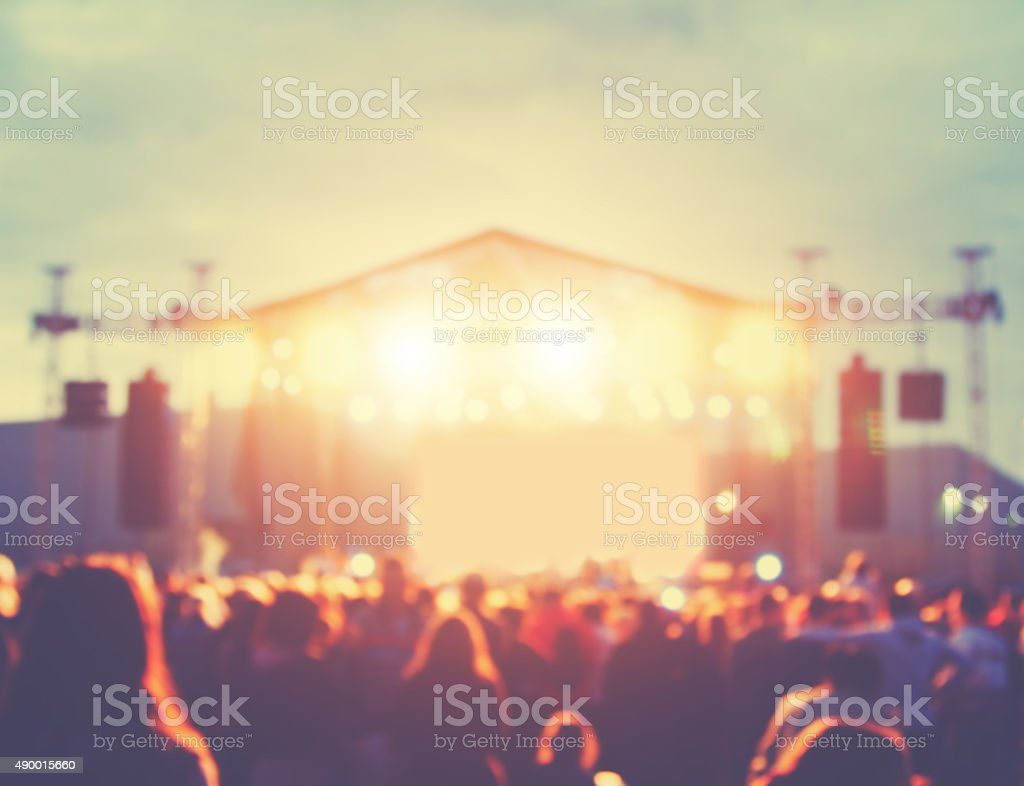 De-focused concert crowd. stock photo