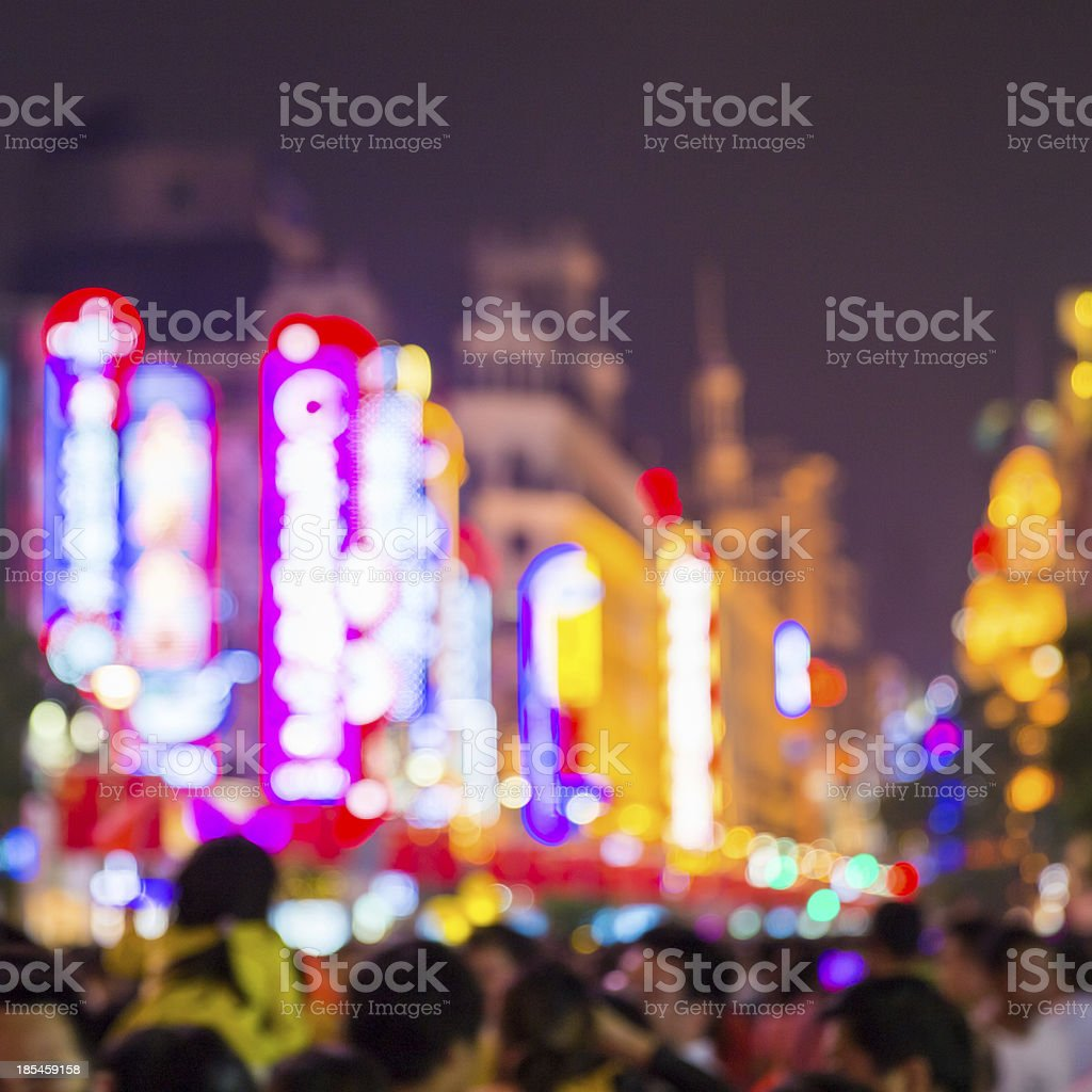 Defocused Crowded Street at Night royalty-free stock photo