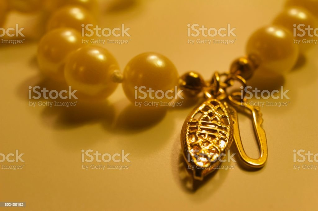 Defocused Cultured Pearl Necklace stock photo