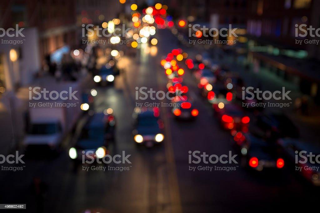 Defocused early evening scene in Manhattan, New York City stock photo