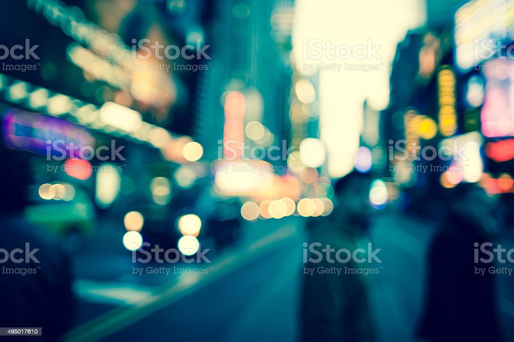 Defocused early evening scene in Times Square, New York City stock photo