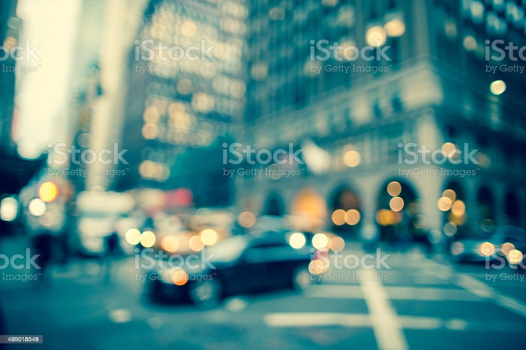 Defocused early evening street scene in New York City stock photo