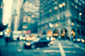 Defocused early evening street scene in New York City