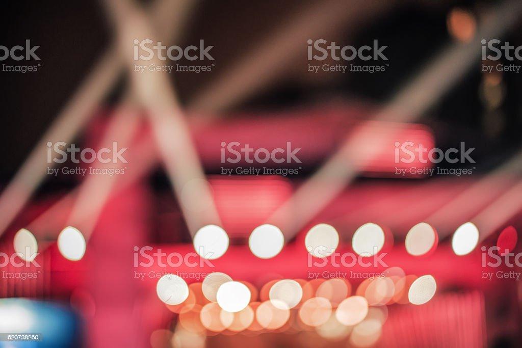 Defocused entertainment concert lighting on stage, bokeh stock photo