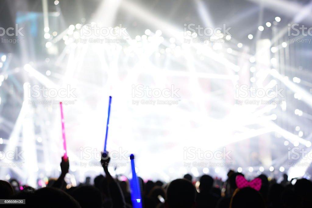 Defocused entertainment concert lighting on stage stock photo