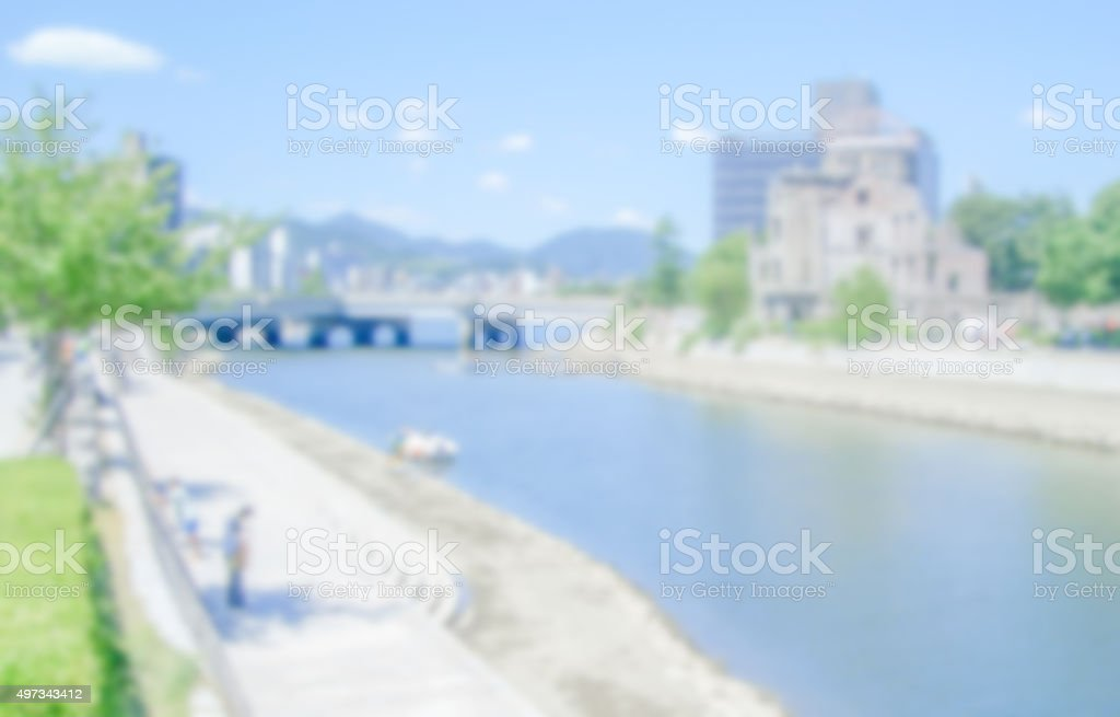 Defocused generic background of Hiroshima, Japan stock photo