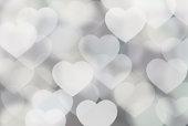 Defocused gray hearts