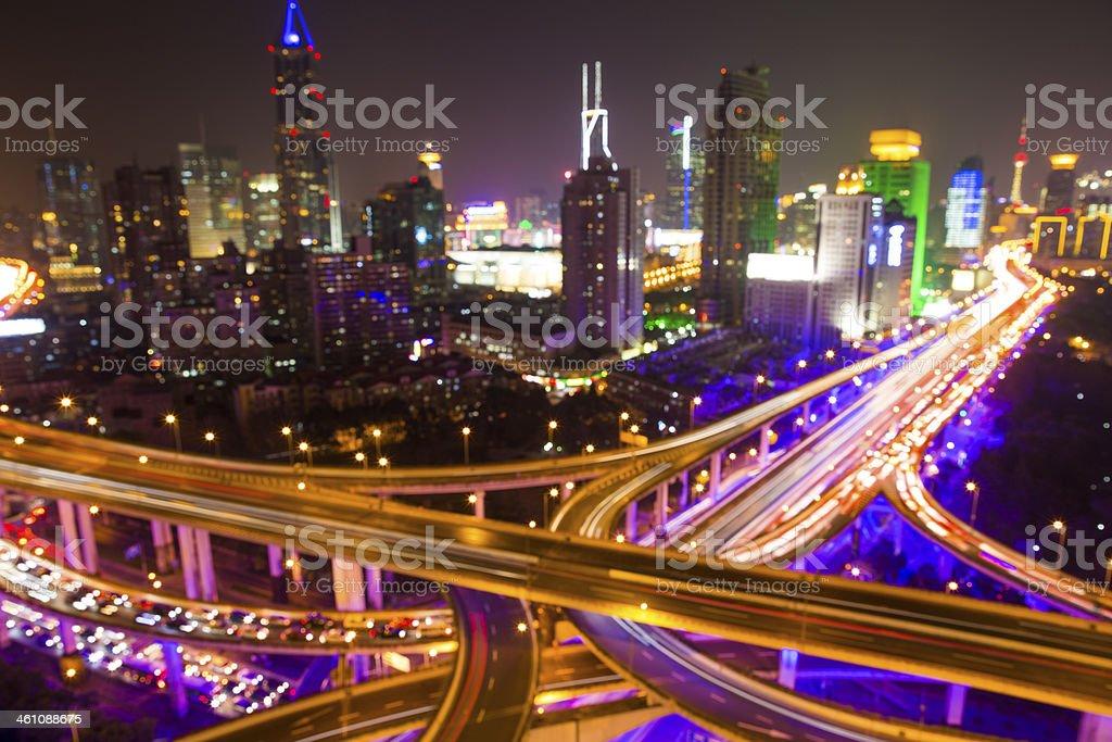 Defocused Highway at Night in Shanghai royalty-free stock photo