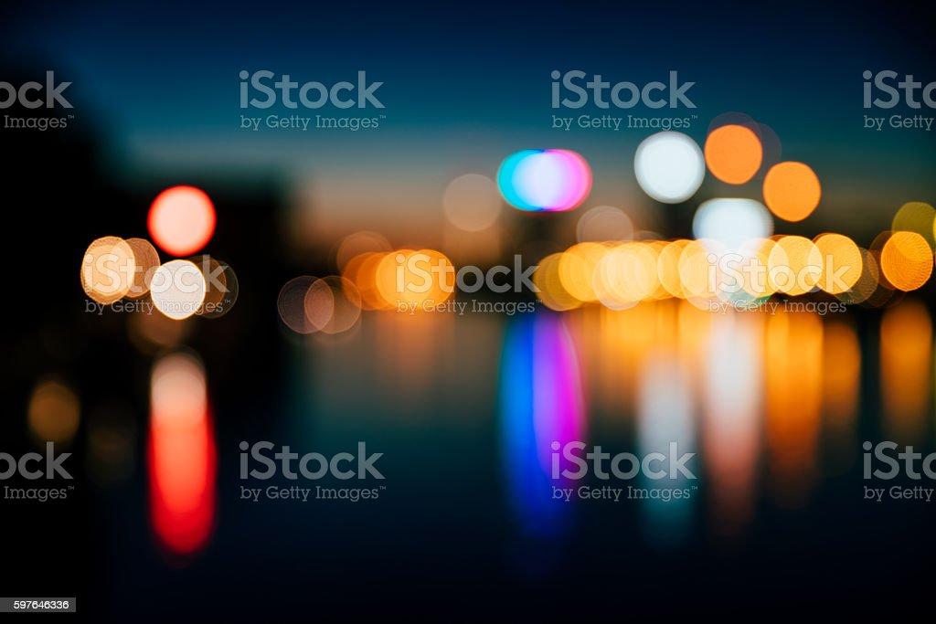 Defocused Image Of City At Night stock photo