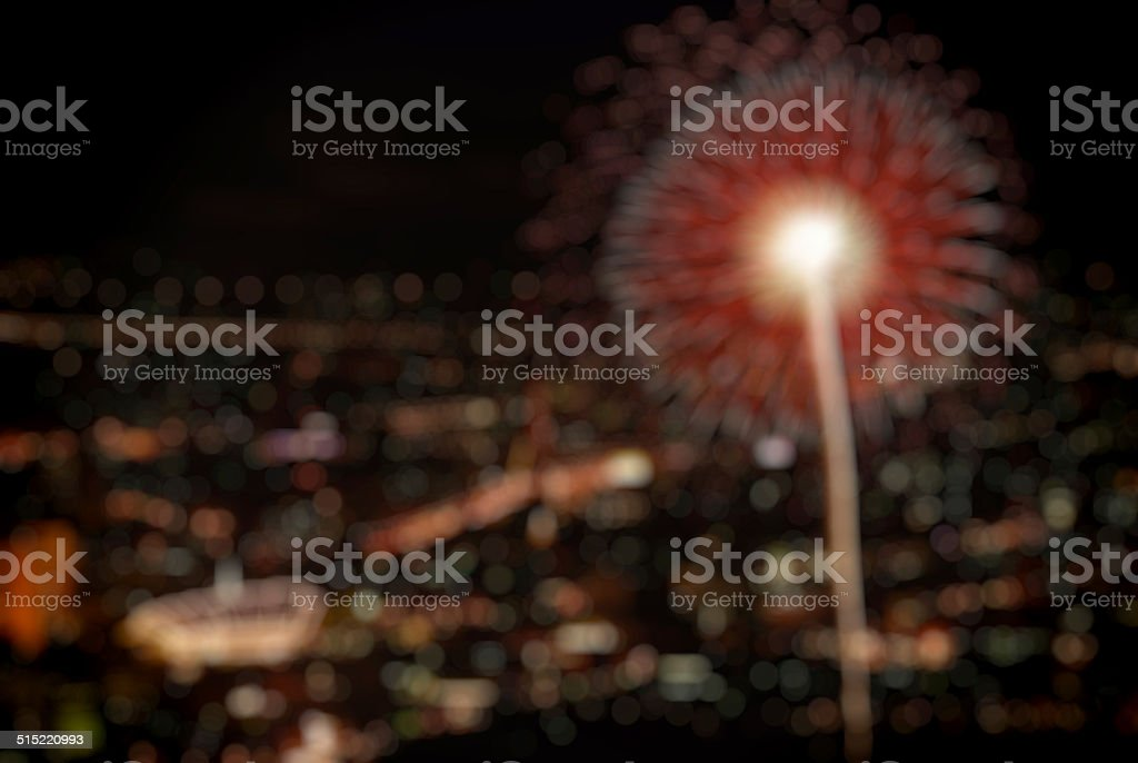 defocused image of fireworks in Bangkok, bokeh background stock photo