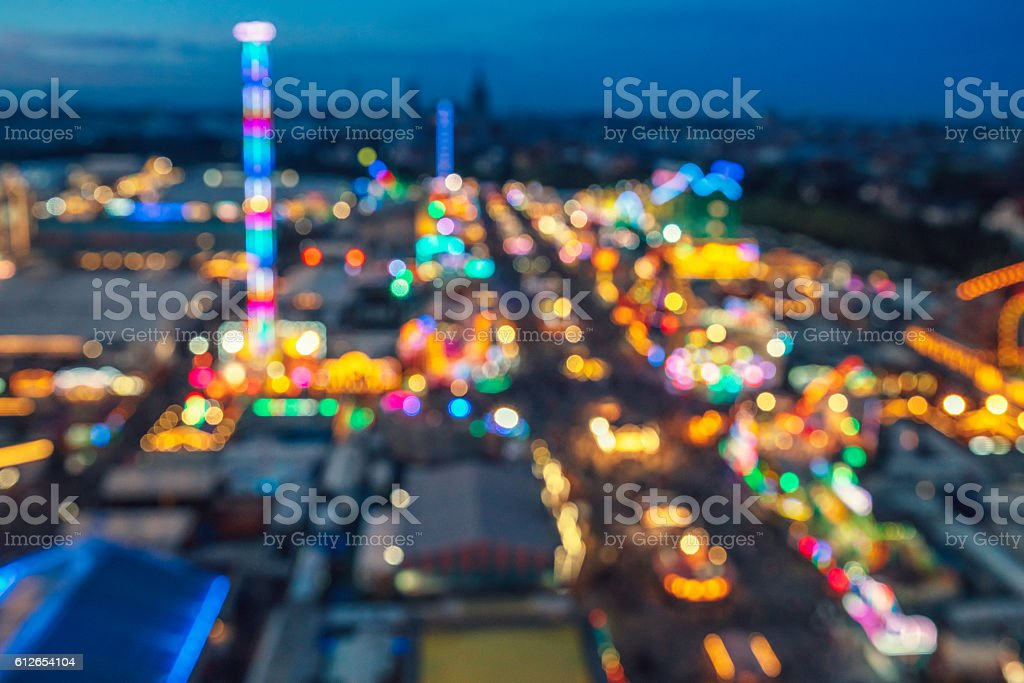 Defocused Image Of Octoberfest Munich At Night stock photo