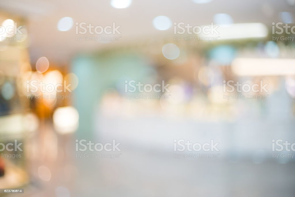 Defocused image of shopping mall stock photo
