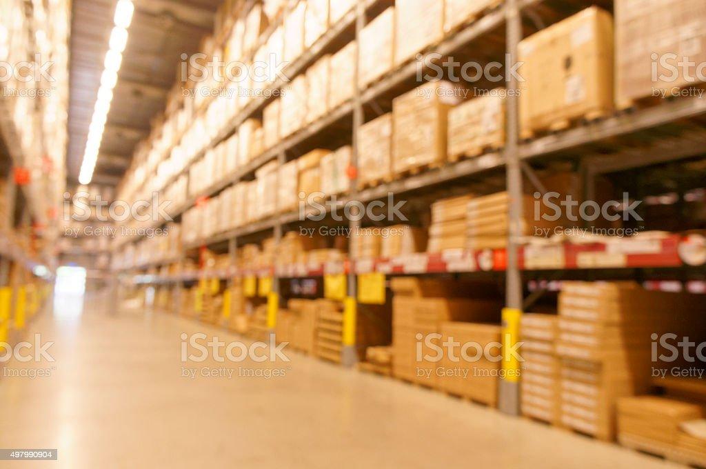 Defocused image of warehouse stock photo