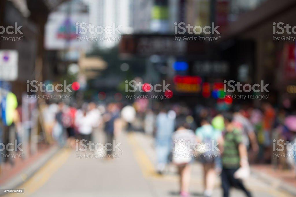 defocused images - crowded Hong Kong  street 2015 stock photo