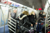 Defocused inside of subway train for backdrop or background