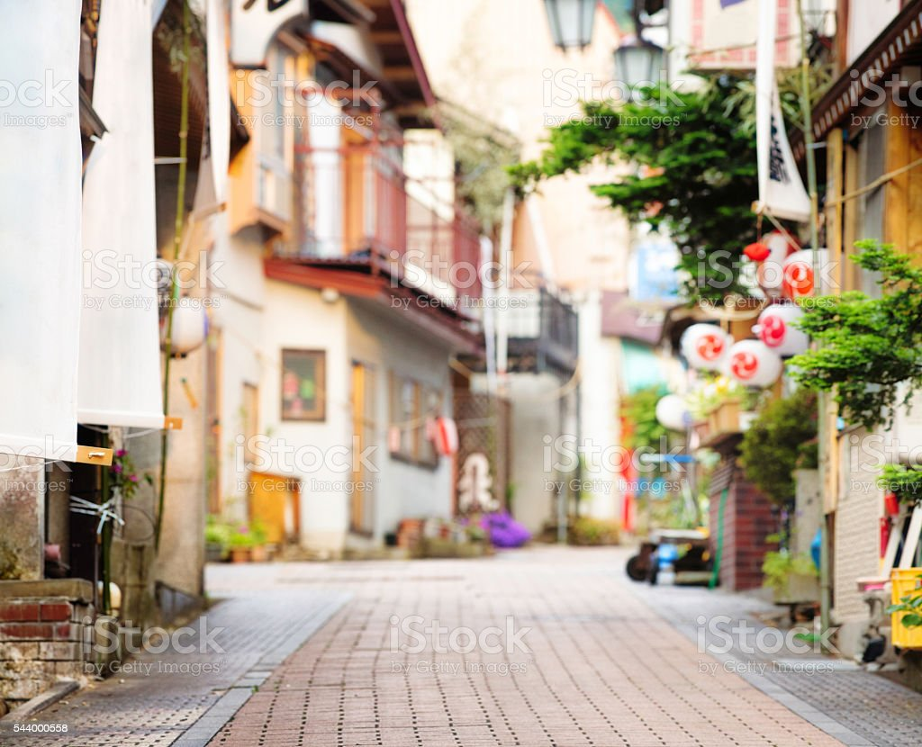 Defocused Japanese village decorated street background stock photo