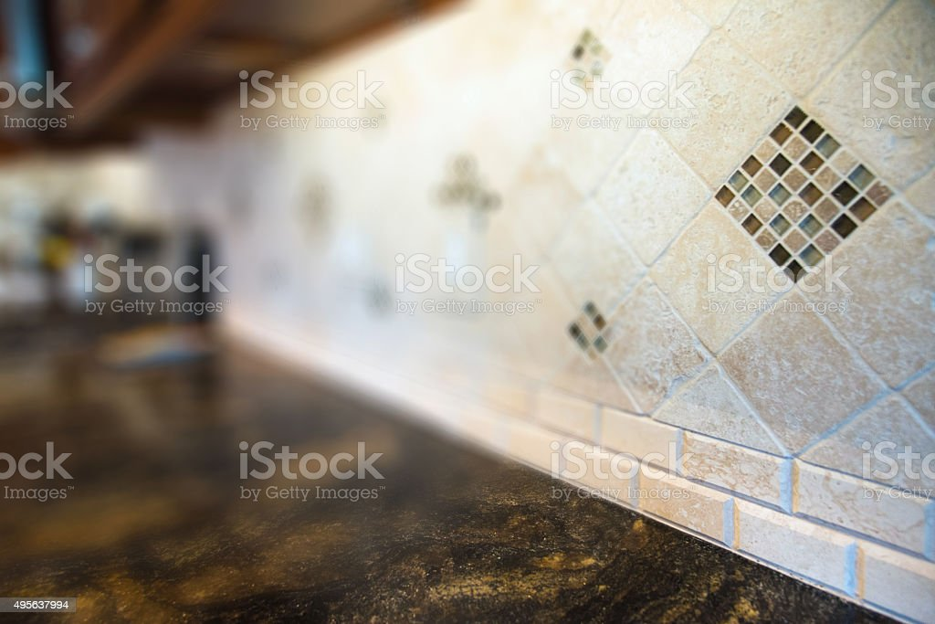 Defocused Kitchen Counter Background stock photo