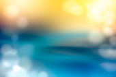 Defocused Lights Abstract Background Blue Yellow